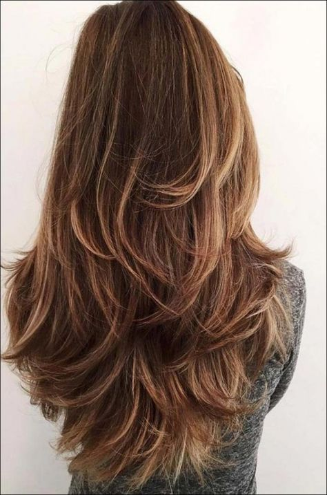 24 Trendy Long Layered Hair Styles for The New Look : layers invigorated by color Haircuts For Long Hair With Layers, Thin Hair Haircuts, Long Hair With Bangs, Girl Haircuts, Bob Hairstyles, Layered Hairstyles, Haircut Short, Long Hairstyles With Bangs, Long Hair Short Layers