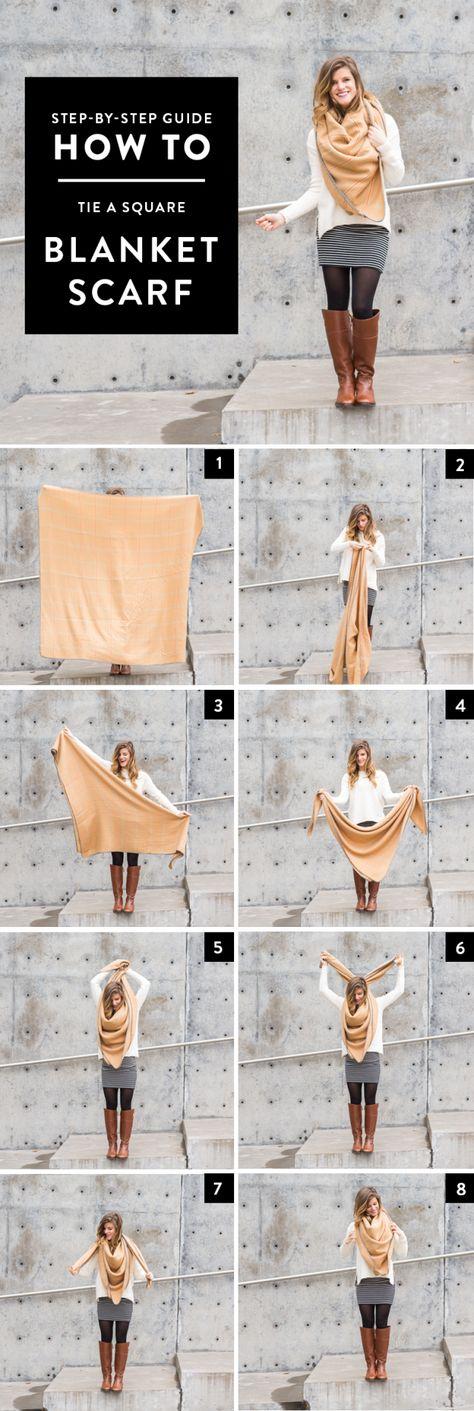How to Tie a Square Blanket Scarf // step by step tutorial via brighton the day blog