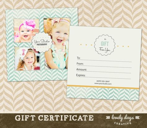 Photography Gift Card Template  Gift Certificate Marketing