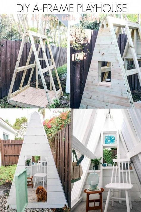 DIY A-Frame Play House - DIY A Frame Play House. This outdoor playhouse is easy and cheap to make and is perfect for boys or - : DIY A-Frame Play House - DIY A Frame Play House. This outdoor playhouse is easy and cheap to make and is perfect for boys or - Backyard Playhouse, Build A Playhouse, Backyard Playground, Backyard For Kids, Diy Easy Playhouse, Playhouse For Boys, Childrens Outdoor Playhouse, Childrens Play Area Garden, Playhouse Slide