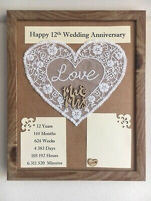 Details About 12th Wedding Anniversary Frame Silk Rustic Gift