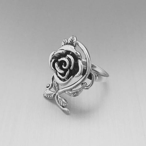 Sterling Silver Heavy Rose Ring with Branch, Boho Ring, Flower Ring, Floral Ring, Statement Ring, 925 StampedFace Height: 26 mmWeight: 8 GramsMaterial: 925 Sterling Silver