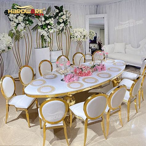 New Metal Furniture Luxury Gold Stainless Steel Mdf Wedding Dining Table Set View Dining Table Set Hardware Product Details From Foshan Hardware Furniture Co In 2020 Dining Table Setting Table Settings