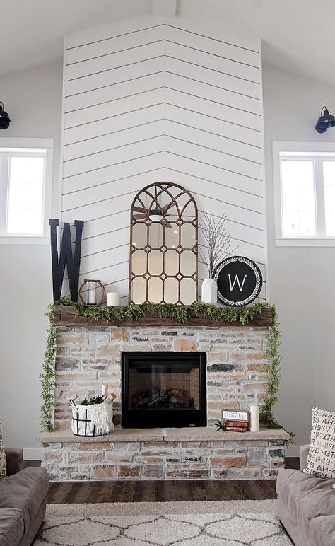 Farmhouse Fireplace With Shiplap And Brick I Knew I Wanted To Create Something Unique And Bold With The Fireplace So We Decided To Go With A B Farmhouse Fireplace Brick Fireplace