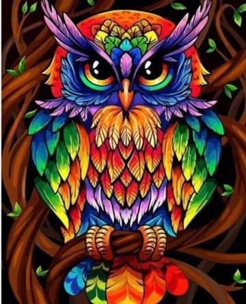 Wise Rainbow Owl Hippie Diamond Painting Kit makes stunning diamond art for home decoration! This DIY diamond painting kit has everything you need to create