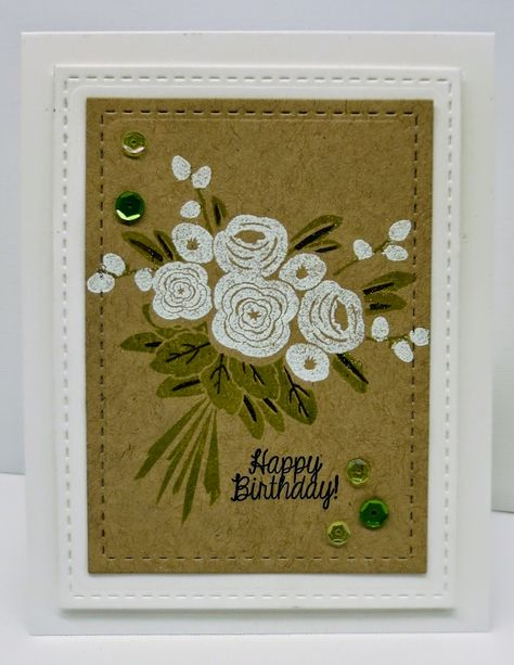 handmade card: One Smile lifts A Spirit: Avery Elle I Heart U Challenge # 13  ... kraft with white embossed flowers and olive leaves ... luv the faux stitching from on the die cut layers ...