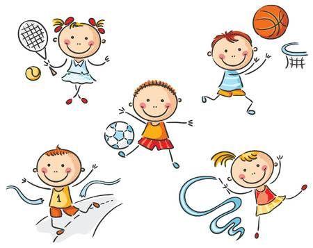 Felices Los Ninos Que Van Para El Deporte Clases De Dibujo Para Ninos Ninos Dibujos Animados Dibujos Para Ninos