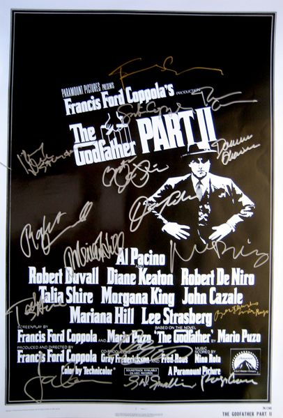 GODFATHER II 27x40 movie poster signed by Al Pacino, Robert Duvall,