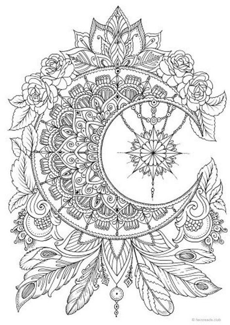 Moon Printable Adult Coloring Page from Favoreads Coloring | Etsy