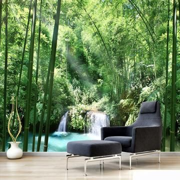 Custom Bamboo Forest Landscape Wallpaper Mural Waterfall Wallpaper Home Wallpaper Wallpaper Decor