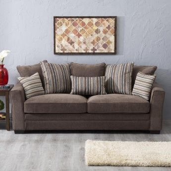 Fedora Fabric Sofa 3 Seater Brown Lifestyle Home Centre