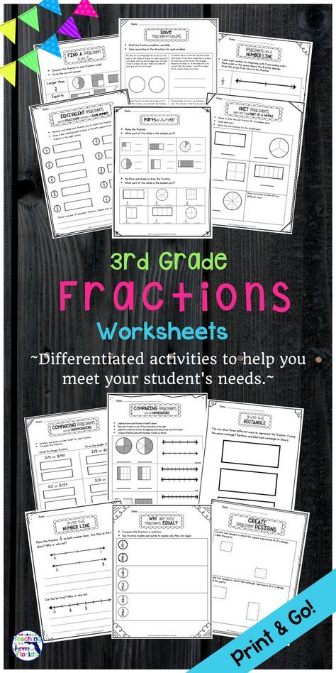 Fractions Worksheets Fractions Worksheets Fraction Activities Comparing Fractions Third Grade