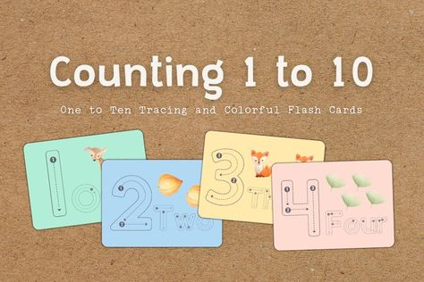 One to Ten Educational and Counting Flash Cards