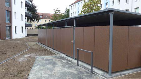 Fahrradhaus Pultdach Trapezblech Seitenverkleidung Hpl Platten Pultdach Trapezblech Fahrradhaus