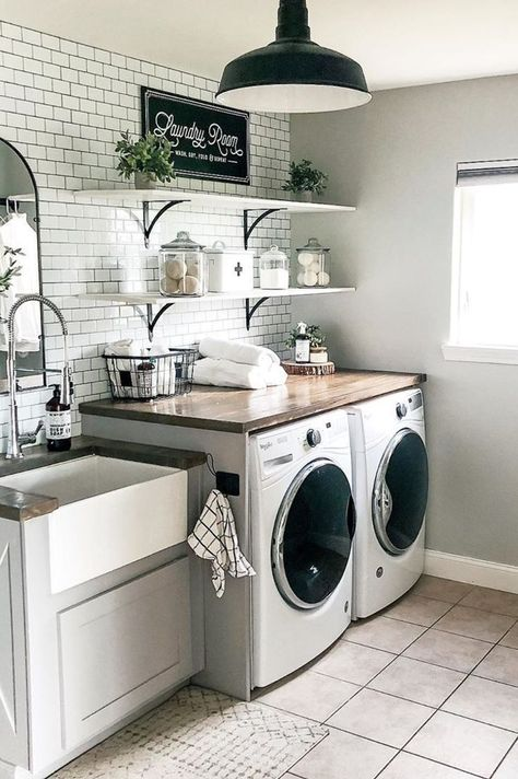 Laundry Room Organization, Mudroom Laundry Room, Laundry Room Layouts, Laundry Room Remodel, Laundry Room Design, Laundry In Bathroom, Shelving In Laundry Room, Laundry Decor, Laundry Room Decorations
