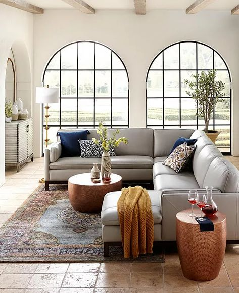 Living Room Sectional, Living Room Grey, Living Room Decor, Leather Living Rooms, Macys Sectional, Grey Leather Couch, Leather Sectional Sofas, Leather Loveseat, Grey Sofas