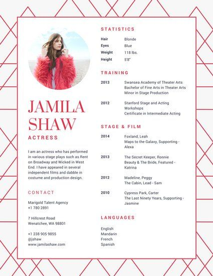 Red Geometric Chic Acting Resume resume Pinterest Template - special skills acting resume