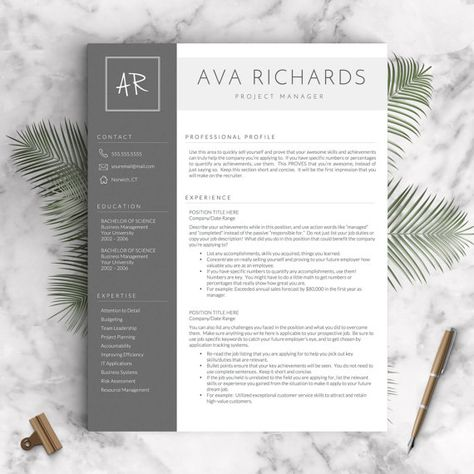 Professional Resume Template for Word and Pages, 1 - 3 Pages + - iwork pages resume templates
