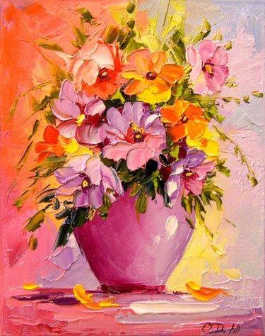 A Bouquet Of Flowers In A Vase Painting By Olha Artmajeur