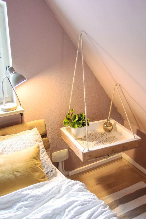 Nachttisch selbstgemacht! Mit diesem DIY Nachttisch wird dein Schlafzimmer einmalig: schwebender Nachttisch im Boho-Style