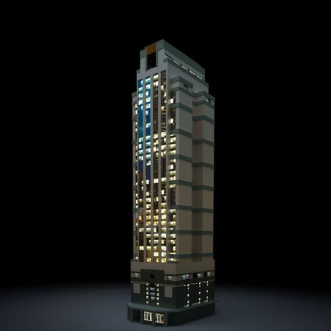 Nighttime Skyscraper By Evermotion Low Poly Model Of Night