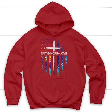 This Christian hoodie features the picture of American Flag and Cross and the saying Faith Hope and Love. With a large front pouch pocket and drawstrings in a matching color, this christian hoodie is a sure crowd-favorite. It's soft, stylish, and great to wear casually ornyone t-shirt, Christian T-shirt even exercise in. Unisex sizing, christian hoodies for men and christian hoodie for women. A christian gift for mom, christian gifts for kids, christian gifts for women, christian gifts for men o