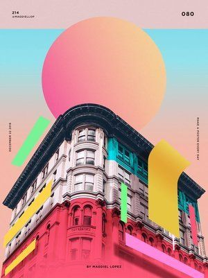 Colourful and dynamic Wrap Buildings with colourful shapes and shadows. Photoshop By magdiel lopez