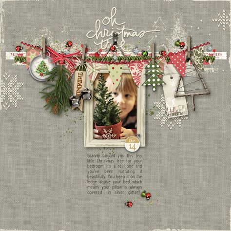 """Sweet Oh Christmas Tree Page...with """"clothesline"""" & charm embellishments. Can't get enough of Carolynn's pages! #designerdigitals #christmas #december #scrapbook"""