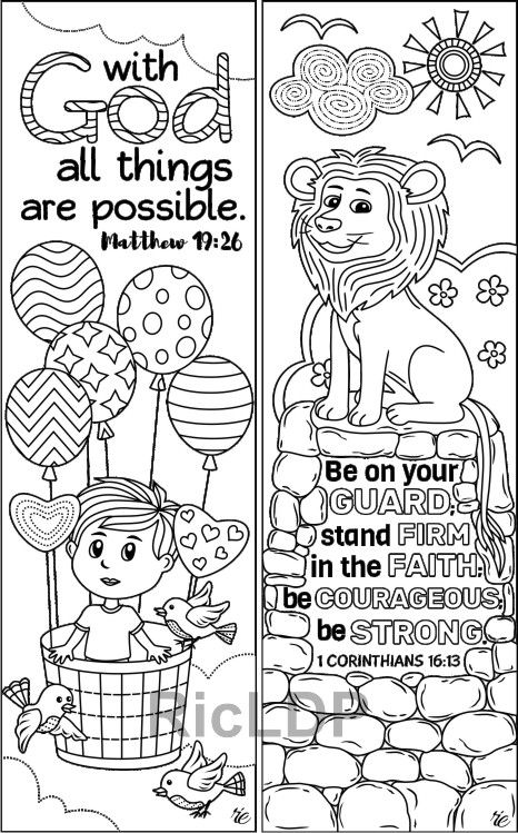 Set Of 8 Cute Bible Coloring Bookmarks Marker Doodles With