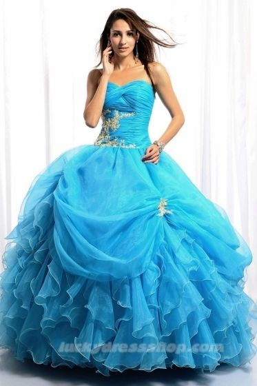Blue Sweetheart Quinceanera Dress With Cascading Ruffle And Sleeveless (MF3H92)