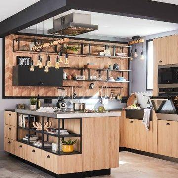 Une Cuisine Art Deco Avec Bar Leroy Merlin Cuisine Loft Amenagement Cuisine Idee Cuisine
