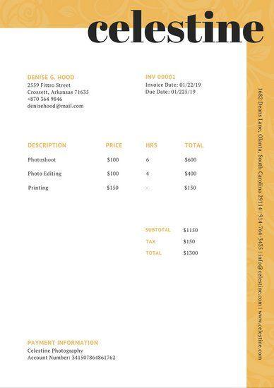 Gold Foliage Pattern Invoice Letterhead Template Invoice Template Self Branding
