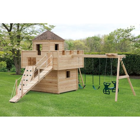 The Amish Made ft. Dream Fort Playground Set is truly a dream come true for any little child. Imagine the memories that can be made playing in this Dream Fort. Each playground set is handcrafted by skilled Amish woodworkers. These playground sets