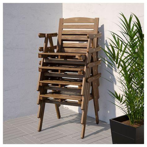 Set Tavolo E Sedie Da Giardino Ikea.Falholmen Tavolo 4 Sedie Braccioli Giardino Mordente Marrone