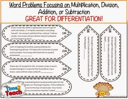 Math Turkey Craftivity Thanksgiving More Time 2 Teach Math Word Problems Word Problems Education Math Thanksgiving division worksheets 5th