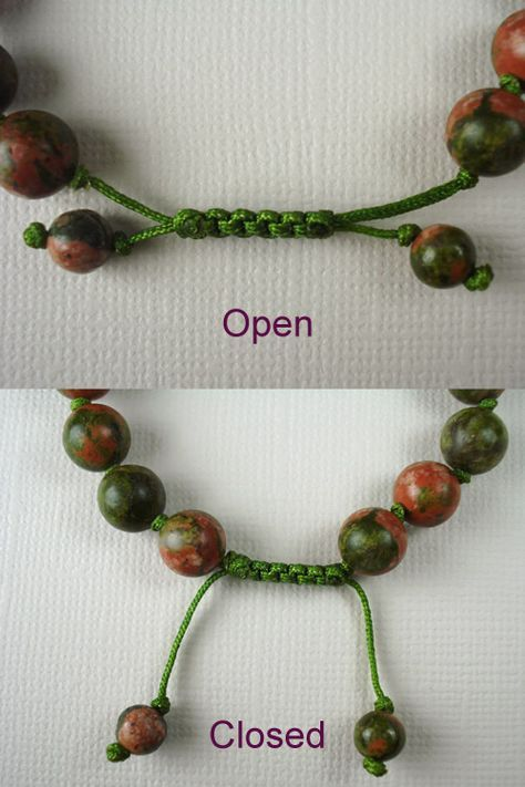 RJ Design Hut: Tutorial: How to Make a Chinese Jade/Stone Bracelet with a Sliding Extender - It's so easy! (Part RJ Design Hut: Tutorial: How to Make a Chinese Jade/Stone Bracelet with a Sliding Extender - It's so easy! Jewelry Knots, Macrame Jewelry, Wire Jewelry, Jewelry Crafts, Jewelry Ideas, Hemp Jewelry, Necklace Ideas, Amber Jewelry, Jewelry Tree
