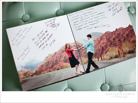 Turn engagement photos into a book for guests to sign. Now, this is a doubly special keepsake!