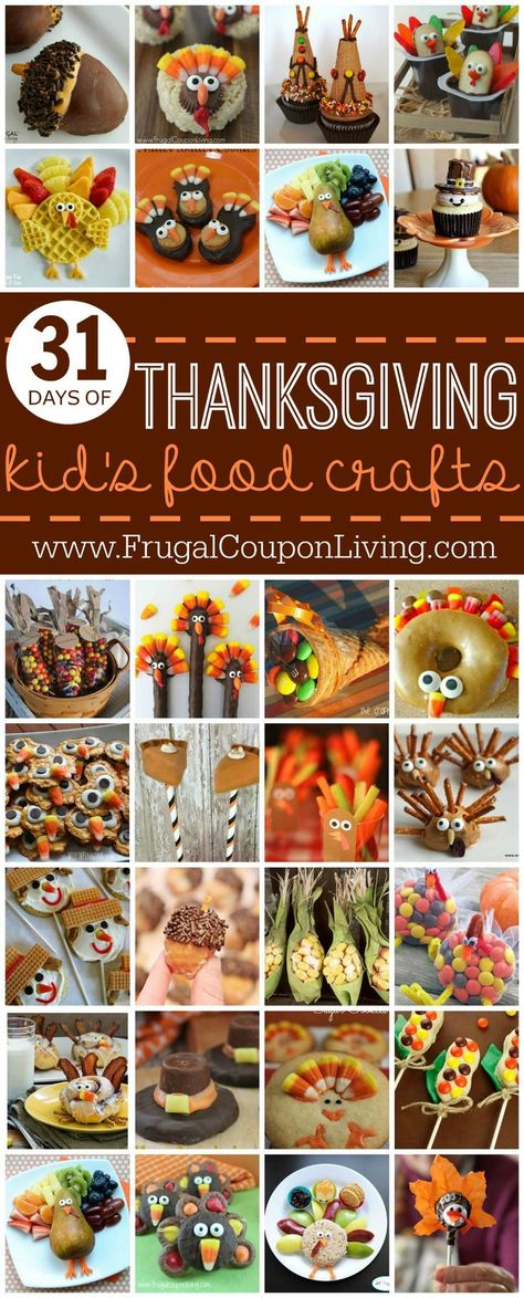 31 Days of Thanksgiving Kids Food Craft Ideas on Frugal Coupon Living - Ice Cream Cone Teepees, Cookie Turkeys, Donut Acorns, Edible Earns of Corn and More!