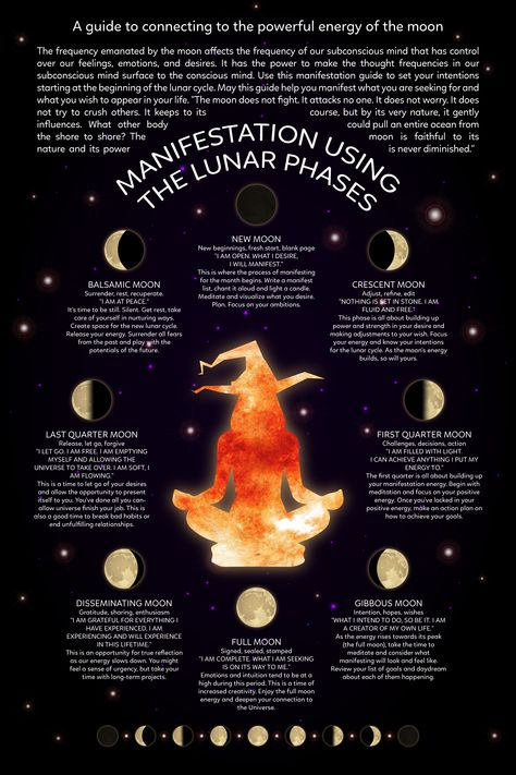 Witch Craft Manifestation Using the Lunar Phases a guide to connecting to the powerful energy of the moon moon witch lunar witch witch and moon black moon witchcraft witches new moon Witchcraft Spell Books, Wiccan Spell Book, Wiccan Witch, Magick Spells, Witch Spell, Witch Rituals, Hoodoo Spells, Healing Spells, Wicca Witchcraft
