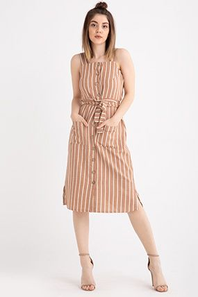 3890 Askili Onu Dugmeli Cizgili Elbise Cizgili Elbise Kiyafet Elbise Modelleri