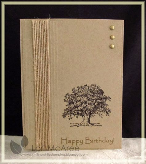 Stampin' Up! ... handmade birthday card from Smiling while Stamping: Queen 210 birthday card  ... clean and simple lines ... twine wrap ... tree stamped in black ... three pearls ... well  balanced design ... luv it!