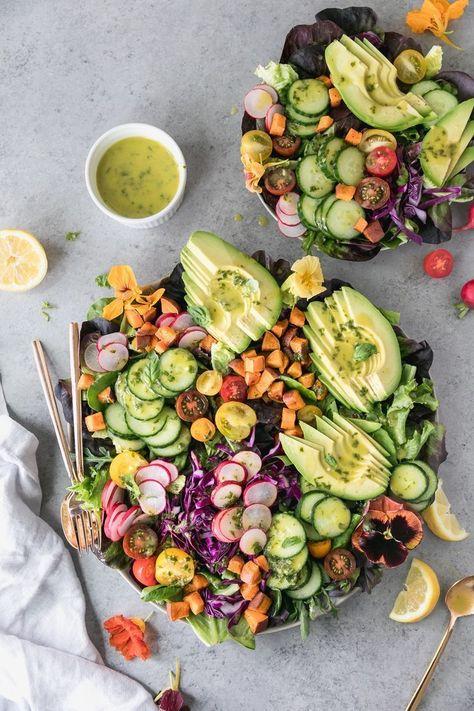 Farmers Market Salad with Lemon Basil Dressing