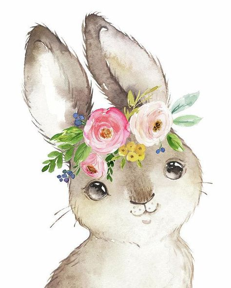 Watercolor Boho Bunny Rabbit Art Print - Art Print
