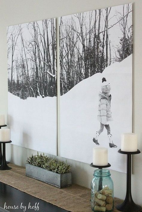 """DIY Split-Photo Wall Decor - under $10 (for a photo split into two). (Add about $1.50 for each additional """"split"""".)"""