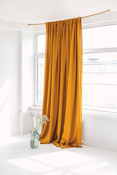 Bedroom Gift Designer Decor Style Single Accent Double Panel 50x84 each Abstract Modern Orange Golden Yellow Window curtains