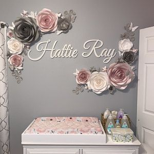 Nursery Paper Flowers Wall Decoration Paper Flower Decor Blush Nursery Decor Elegant Paper Flowers In 2020 Paper Flower Wall Decor Paper Flower Decor Blush Nursery Decor