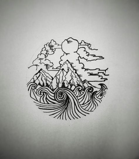 Grafic design mountain and sea conmerge
