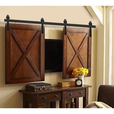 6 6 6ft Mini Small Sliding Barn Door Hardware Kit Cabinet Tv Stand J Shape Home Home Decor Home Diy