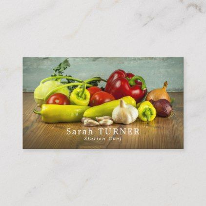 Large Vegetable Selection Chef Cook Business Card Zazzle Com Cooking Food Guide Cooked Vegetables