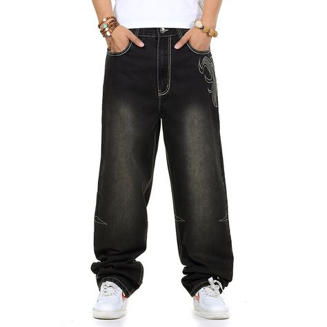 04f92997 53.00$ Buy here - Jeans men baggy black casual rap jeans loose pants  hip-hop loose style hip hop jeans for boy big size waist 30-46  #buyonlinewebsite